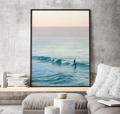 Available sizes (inches): Beach Theme Wall Decor, Beach Wall Art, Frames On Wall, Framed Wall Art, Blue Living Room Decor, Living Rooms, Water Surfing, Hanging Pictures, Texture Art