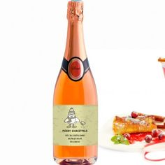 Personalised Christmas Pink Champagne - Cartoon Penguin and Robin