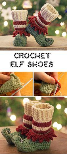Crochet Christmas Elf Slippers - Design Peak Okay, these are really chic - Diyprojectgardens.club Crochet Christmas Elf Slippers - Design Peak Okay, they are really chic S. Crochet For Kids, Crochet Baby, Free Crochet, Learn Crochet, Crochet Granny, Holiday Crochet, Crochet Gifts, Crochet Christmas Hats, Free Christmas Crochet Patterns