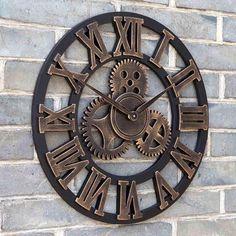 HORLOGE 45 CM Décoratif horloge murale magasin de salon rétro moderne engrenage grande horloge ronde bricolage bois créatif personnalisé