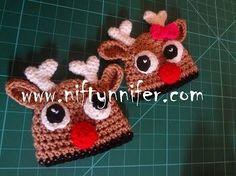 Newborn to three months Reindeer cap - Free Crochet Pattern from Niftynnifer