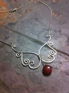 Unique Hand Hammered Wire Butterfly Necklace with Chalcedony Briolette, Fly Fly Away. $28.00, via Etsy.