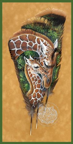 Maman girafe et son petit - Feather Print
