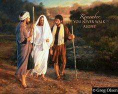Jesus waljing with the two disciples after resurrection