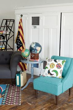 I want that dark globe on top of the table I salvaged and painted blue that looks exactly like the one pictures. And I want that adorable chair to live next to it.