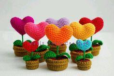 Crochet heart bouquet