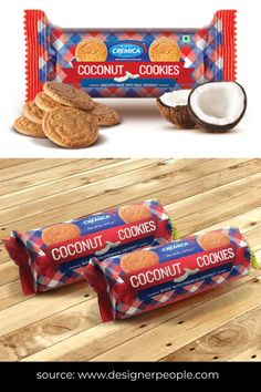 The packaging is effortless and precise, with not many details and text to confuse. The visual of a cookie and pieces of coconut-clear enough to guess what it is. The concept of white text over colour, which is not usual, makes it a simple yet unique design. #foodpackaging #packagingdesign #foodpackagingdesign #foodpackagingideas #packqagingideas