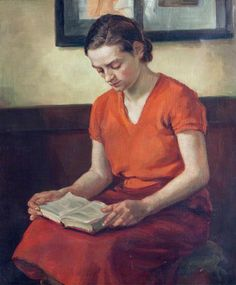 "Portrait of a Young Woman Reading (c.1938). G. B. Barlow. Oil on canvas, North Lincolnshire Museums Service. ""Lord! when you sell a man a book you don't sell just twelve ounces of paper and ink and glue - you sell him a whole new life. Love and friendship and humour and ships at sea by night - there's all heaven and earth in a book, a real book."" ~Christopher Morley"