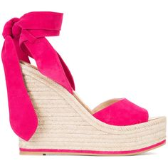 Paul Andrew wedge sandals ($660) ❤ liked on Polyvore featuring shoes, sandals, pink, leather shoes, wedge sandals, pink sandals, paul andrew shoes and leather wedge sandals