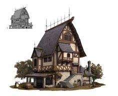 Building Concept, Building Art, Building Design, Fantasy Town, Fantasy House, Minecraft Designs, Minecraft Projects, Landscape Concept, Fantasy Landscape