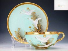 Old Nippon 1899-1911 aqua and gold china tea set
