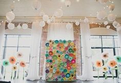 This DIY wedding took paper flowers to a whole new one - Paper Flower Backdrop Wedding Paper Flower Backdrop Wedding, Floral Backdrop, Paper Flower Wall, Flower Wall Decor, Diy Wedding, Wedding Blog, Wedding Stuff, Wedding Decor, Wedding Ceremony