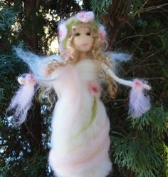 Needle Felted Victorian Angel Pink Fairy by ClaudiaMari on Etsy, $55.00