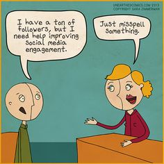 Cartoon about improving social media engagement. It might be efficient, but it's probably not the best strategy.