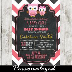 Celebrate the new arrival with this adorable owl girl baby shower invitation featuring a cute pink mother and daughter owls against a chalkboard background and a white, grey and pink zigzag chevron pattern. #cupcakemakeover
