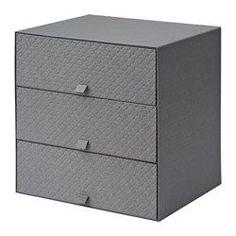 PALLRA Minilipasto, 3 laatikkoa, tummanharmaa - 31x26x31 cm - IKEA