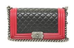 Chanel Black Red Smooth Calfskin Quilted Leather Chain Strap Boy Flap Bag