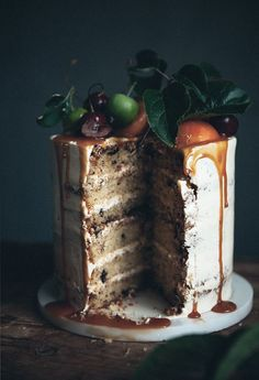 Call me cupcake: Brown butter chocolate chip cake with bourbon caramel frosting