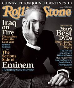 """Eminem is an excellent example of someone who broke the stereotype of """"rappers can only be black"""" but is still fighting for his reputation. Check the link for more info on how he broke this stereotype. Rap God, Rolling Stone Magazine Cover, The Eminem Show, Eminem Rap, Eminem 2014, Werner Herzog, Eminem Photos, Best Rapper Alive, The Real Slim Shady"""