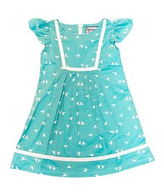 Love this Teal & White Bird Bib Dress - Toddler & Girls by The Dragon and the Rabbit on #zulily! #zulilyfinds