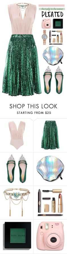 """Mermaid Pleats"" by cara-mia-mon-cher ❤ liked on Polyvore featuring Circus by Sam Edelman, Miss Selfridge, Disney, Bobbi Brown Cosmetics and Fujifilm"