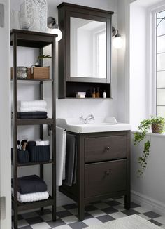Bathroom Storage Make the most out of small bathroom spaces like using the HEMNES sink cabinet, shelf and mirror cabinet to stay organized in style. Bathroom Space, Bathroom Design, Mirror Cabinets, Small Bathroom Storage, Small Bathroom, Interior, Bathroom Decor, Trendy Bathroom, Ikea Bathroom