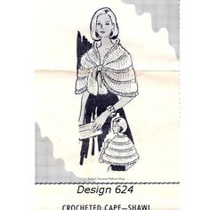 Crocheted Mohair Cape Shawl Pattern Vintage Laura Wheeler 624