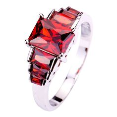 New Bright Red Square cut & five stone 925 Silver color Ring Size 6 7 8 9 10  Free Shipping For Women Jewelry Christmas