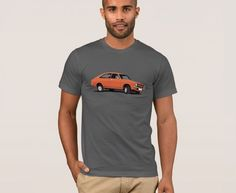 classic car from the United Kingdom, the Morris Marina Coupé in orange printed on t-shirts. Morris Marina, Vintage Cars, United Kingdom, Classic Cars, Automobile, T Shirt, Orange, Printed, Mens Tops