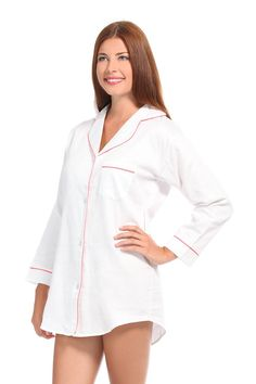 Malabar Bay White With Pink Sateen Night Shirt