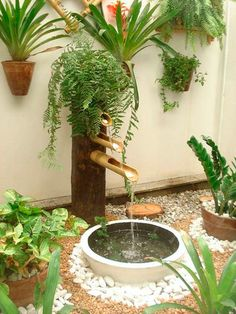 fantastic garden waterfall for small garden ideas you will love it 4 Small Garden, Outdoor, Garden Waterfall, Backyard Landscaping, Backyard Diy Projects, Outdoor Gardens, Backyard, Garden Fountains, Outdoor Planters
