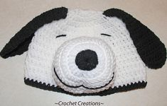 Crochet Snoopy Dog Child Hat Enjoy this Snoopy Hat Pattern! My Crochet You Tube Channel: https:& Crochet Animal Hats, Crochet Baby Hats, Crochet Beanie, Crochet For Kids, Crochet Yarn, Free Crochet, Knitted Hats, Ravelry Crochet, Crochet Crafts