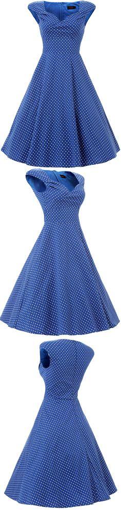 Vianla Women's 1950s Dress Vintage Capshoulder Party Sewing Dresses,Blue 50s Vintage Polka Dots Swing Midi Dress, #Royal Blue dress #Vintage #1950s