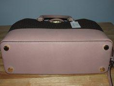 Michael Kors Savannah Large MK Signature Leather Satchel Handbag Brown Fawn Gold $179.99