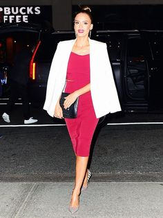 Pair a tailored blazer over a formfitting top and skirt for Jessica Alba's sophisticated vibe.