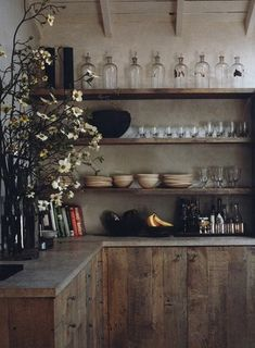 rustic kitchen from 'Interiors/Atelier AM' + raw wood cabinets and open shelving
