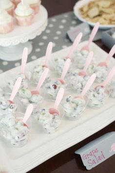 Elephant themed baby girl shower // pink & grey color scheme // grape salad // elephant cut-outs on food labels