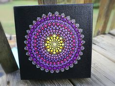 Gorgeous Purple, Yellow and Copper Dot Mandala 6 x 6 original acrylic painting on wrapped box canvas. Painting is sealed and ready to hang. Canvas thickness is ~1.5  Please be aware that colors reflected on your screen may vary slightly from exact color in person. I use un-altered natural lighting in all my pictures.  ***Each canvas piece comes with a signed and dated Certificate of Authenticity***  Piece will ship Insured via USPS Priority Mail (2-3 days.)  ***Thank you for looking and have…