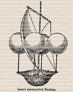 Aeronautical Clip Art – Fantasy Flying Machine – Balloon Illustration – Flight Clip Art – Digital Stamp - Printable Graphic – commercial use
