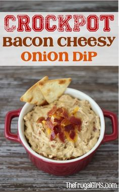 This Crockpot Bacon Cheesy Onion Dip Recipe is perfect for parties! The dip is thick, creamy and the Bacon Lover's dream come true! Go grab your Crockpot! Slow Cooker Dips, Slow Cooker Recipes, Crockpot Recipes, Cooking Recipes, Dip Crockpot, Crock Pot Dips, Crock Pot Cooking, Cooking Time, Party Dip Recipes