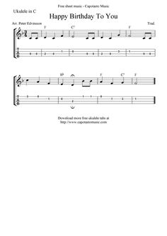"✓""Happy Birthday To You"" Ukulele Sheet Music - Free Printable"