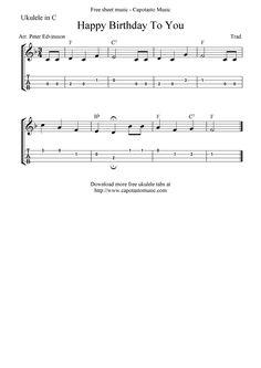 """✓""""Happy Birthday To You"""" Ukulele Sheet Music - Free Printable"""