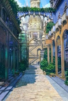 In the mornings Gaeta would walk Celeste to the college where she was studying to become a doctor. Fantasy City, Fantasy Places, Fantasy World, Fantasy Art Landscapes, Fantasy Landscape, Landscape Art, Illustration Fantasy, Anime Places, Episode Backgrounds
