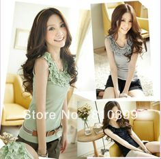 2013 Hotsale Women's Lace Ruffle Tank Top Camis Ladies Tops Summer T Shirts Black/Pink/Gray/White/Green Freeshipping#T002 US $7.00