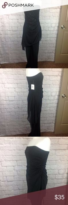 Vtg Michel USA Jumpsuit Dressy Small Stretchy Great Condition; Vtg Michel USA Jumpsuit Dressy Small Stretchy Black Beaded Sequined Sleeveless ; 93/7 Polyester/Spandex; Ruched at the side; Sheer Overlay with Floral Sparkling Sequin and Black Seed Beads;  14 inch across elastic band bust; 52 inch length 31.5 inch inseam of pants Michel Tops Blouses