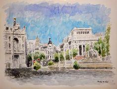 Acuarela de la Plaza de Cibeles de Madrid. Un cuadro en el que se aprecia una vista total de este bonito lugar   Rubén de Luis Rubio