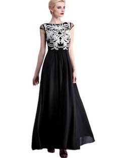 Exquisite Design Slash Neck Sleeveless Chiffon Maxi Dress