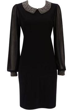 Black Embellished Peter Pan Collar Dress