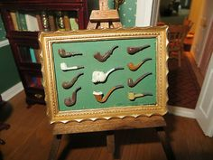 Very nice dollhouse miniature pipe collection display - would look nice in a gentleman's smoking room or game room