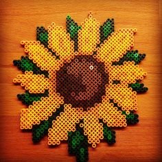 Sunflower hama beads by perlemor1